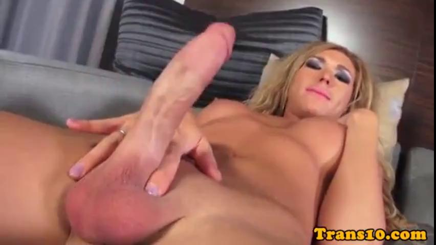 Hot Blonde Shemale Fucks Guy