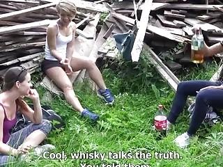 Three drunk Czech teens share a dick in the open