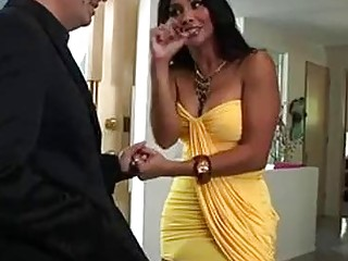 Sucking his balls as the dude cums in her luxurious face