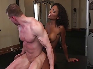 Big ass ebony shemale fucks her gym buddys white ass